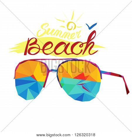 Beach and summer holiday sunglasses on the white background triangle style. Lettering color text -summer and beach. Design for postcard and little souvenir. Holiday travel and relax.