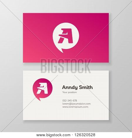Modern letter A in speech bubble Business card template. Vector design. Layered editable.