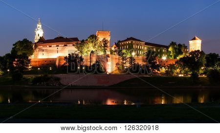 Wawel Castle on Wawel Hill above Vistula river by night, Krakow, Poland ** Note: Soft Focus at 100%, best at smaller sizes