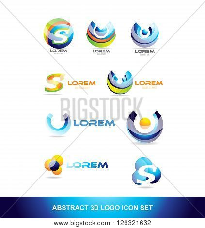 Abstract sphere icon logo set letter corporate