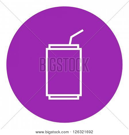 Soda can with drinking straw line icon.
