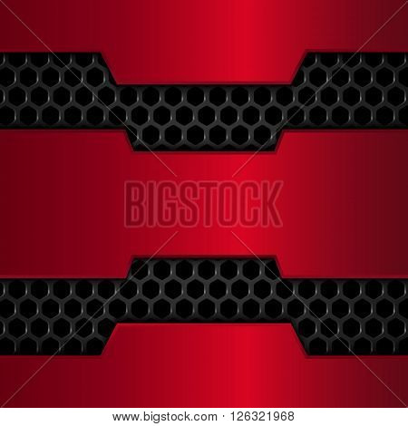 Black and red metal background, Red Chrome, Metal grid, Honeycomb background. Vector illustration EPS10