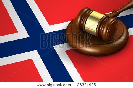 Norway laws legal system and justice concept with a 3D rendering of a gavel and the Norwegian flag on background.