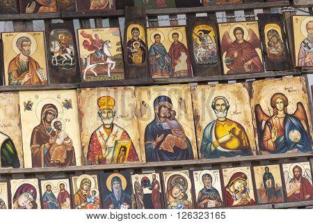 Sofia Bulgaria April 14, 2016 :wood Made Orthodox Religious Painting Icon, In Downtown Sofia, Bulgar