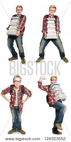 Composite photo of student with books