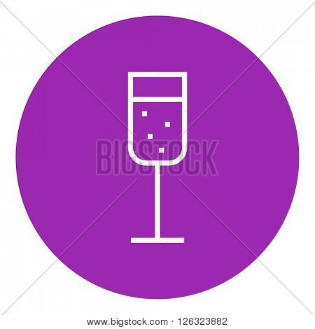 Glass of champagne line icon.