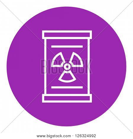 Barrel with ionizing radiation sign line icon.