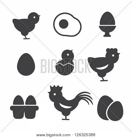 Egg vector icons. Egg food, breakfast egg, animal egg