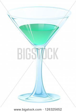 Blue tipple cocktail in glass goblet on stem. Alcohol strong drink. Isolated on white vector illustration