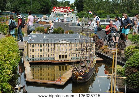 THE HAGUE, THE NETHERLANDS, JULY 5: Scale model of the Maritime Museum in Amsterdam in Madurodam, a miniature park with scale model replicas of Dutch buildings and a popular tourist attraction in the Netherlands on July 5, 2012