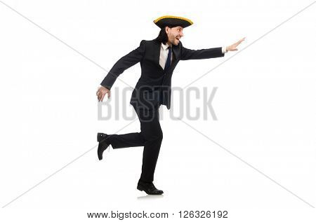 Running businessman wearing tricorn isolated on white