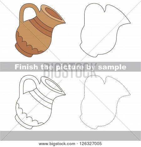 Drawing worksheet for children. Finish the picture and draw the cute Jug