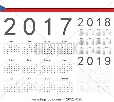 Set Of Czech 2017, 2018, 2019 Year Vector Calendars