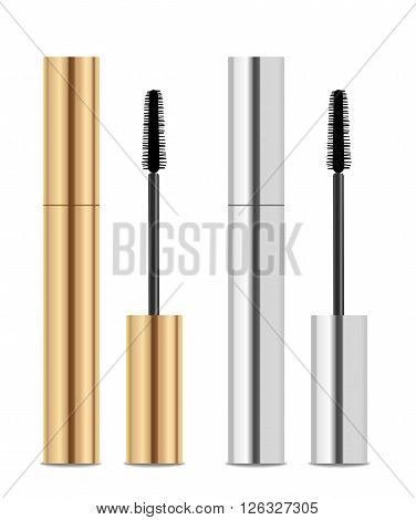 Golden and silver lash mascara tubes with brush. Vector illustration