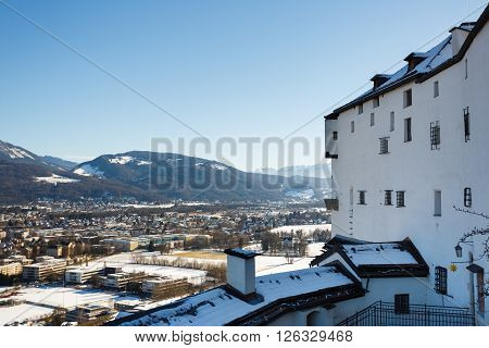 Salzburg, Austria - January 07 2016: The observation deck at the top of the Hohensalzburg Castle in Salzburg Austria