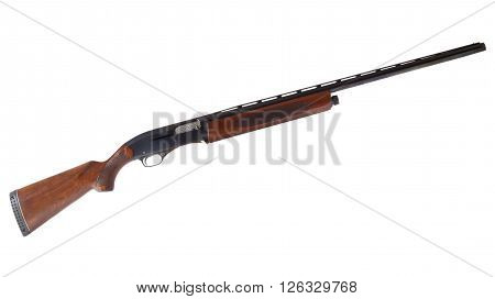 Wood stocked semi automatic shotgun that is isolated on white