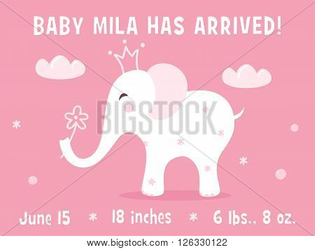 Elephant and Clouds. Baby Girl Birth Announcement Card Vector Template