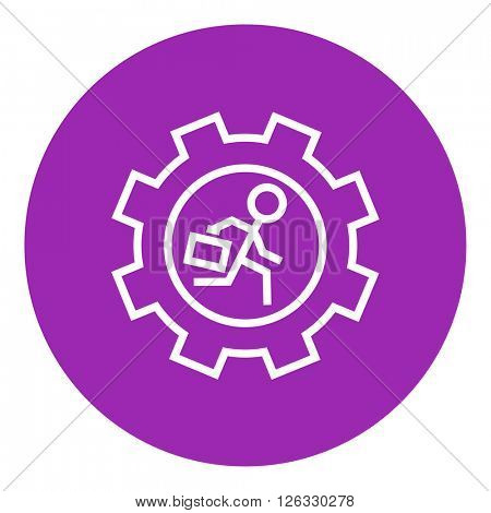 Man running inside the gear line icon.