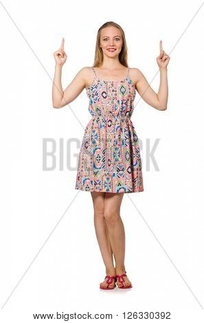 Blondie caucasian girl in summer light dress isolated on white