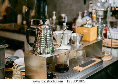 Coffee series : Closeup of hand-drip coffee equipment