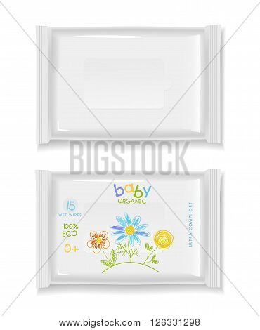 Two white wet wipes package isolated on white background. Blank package and baby design wet wipes. Ready for your design. Vector illustration