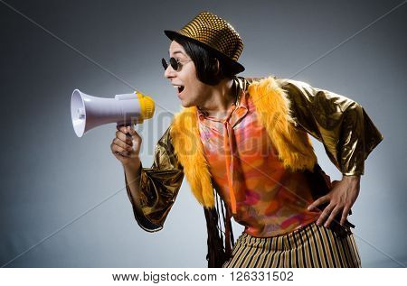 Funny man with the loudspeaker