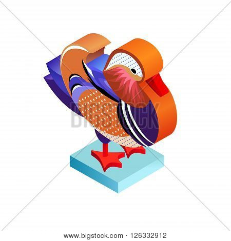 Bird mandarin duck. Illustration isometric icon. The vector image of the animal in the original unusual style isolated on white background.