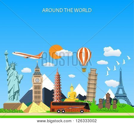 Trip to World. Travel to World. Vacation. Road trip. Tourism. Travel banner. Vector illustration of flat design composition with famous world landmarks icons. Concept website template.