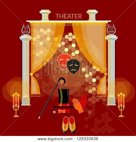 Theater performance vintage comedy and tragedy masks theater stage curtain