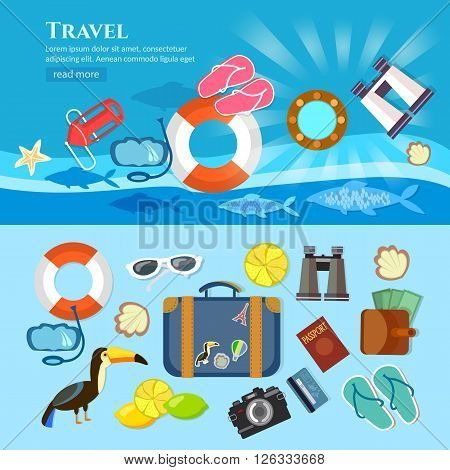 Travel tourism world tour summer vacation vector flat background and objects