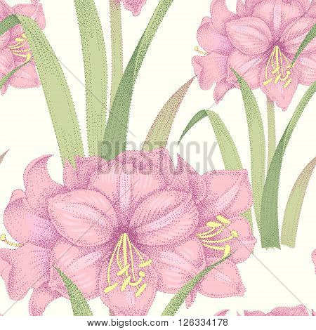 Seamless pattern. Illustration of amaryllis flowers. Floral design in Victorian style to create fabrics textiles wallpaper paper. Vintage. Vector.