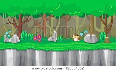 Seamless horizontal summer background with boletus and rocks for video game