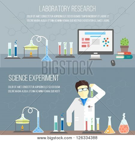 Chemistry laboratory, chemistry equipment. Experimenting chemistry science in the laboratory.  Scientific experiments, tests, study. Raster banners.