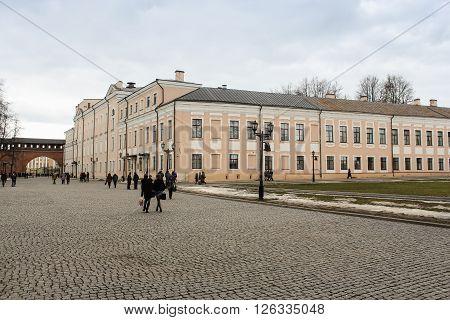 Velikiy Novgorod, Russia - 12 March, People on the territory of the Novgorod Kremlin, 12 March, 2016 Buildings and monuments in the territory of the Novgorod Kremlin.