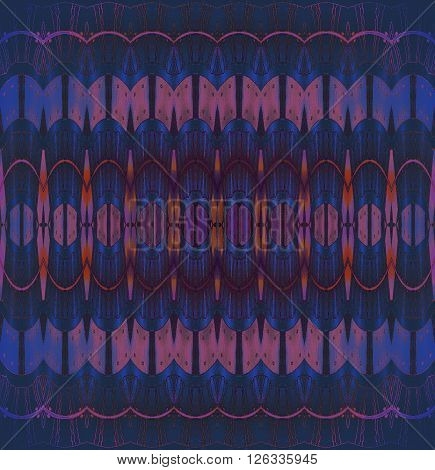 Abstract geometric seamless background. Extensive ellipses pattern, drawing with orange, pink, violet, dark blue and purple elements with purple wavy lines and outlines.
