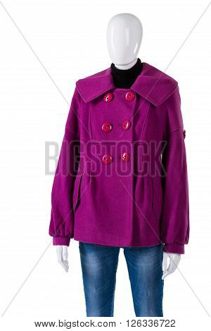 Purple coat and simple jeans. Female mannequin wearing purple coat. Warm stylish outerwear for women. Fleece garment at low price.
