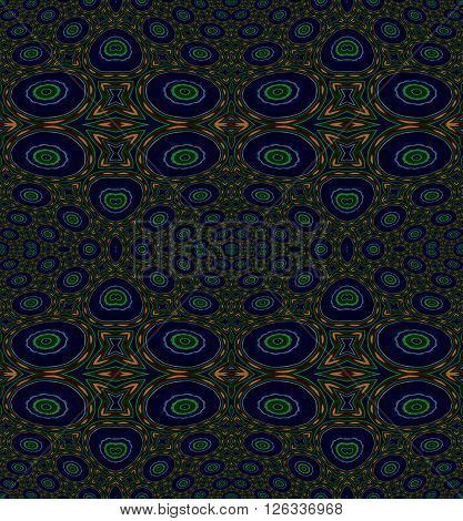 Abstract geometric seamless background. Various circles and ellipses pattern dark blue and dark green with elements in orange, purple and brown.