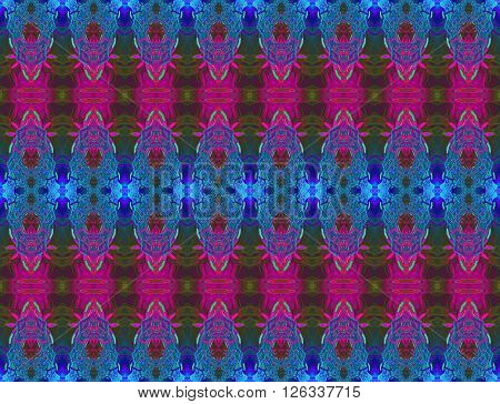 Abstract geometric seamless background. Regular ornate ellipses pattern in blue shades with elements in purple, violet and olive green.