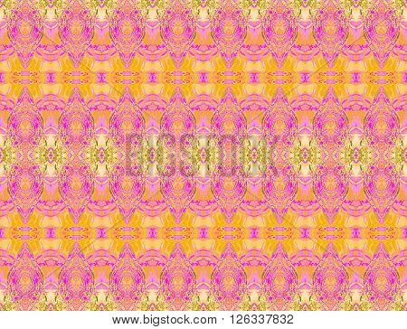 Abstract geometric seamless background. Ornate ellipses and diamond pattern in yellow, orange and violet shades with beige and green elements, extensive and dreamy.
