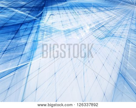 Abstract background element. Fractal graphics series. Blue colors on white.
