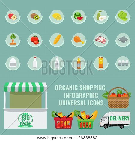 Fruits and vegetables icons set with solid flat color. Basket with full of organic vegetables. Organic Healthy food shopping infographic elements. Fresh fruit and vegetables with slice.