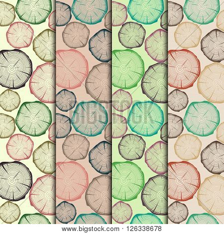 Set of seamless patterns with tree rings. Vector EPS10 illustration.