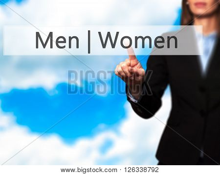 Men Women - Businesswoman Hand Pressing Button On Touch Screen Interface.