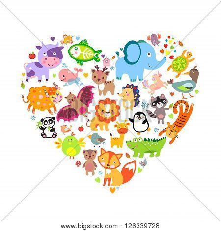 I love animals concept Heart Vector Illustration.