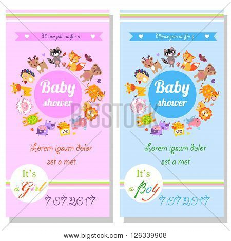Baby shower cards with cute animals. It's a girl and it's a boy