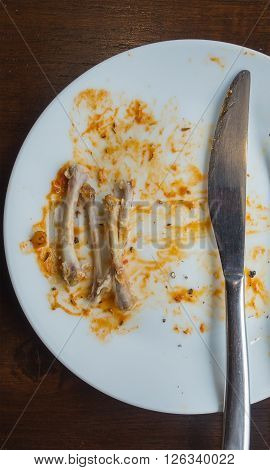 plate dirty after the meal is finished