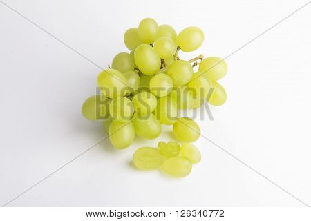 Fresh green grapes  Isolated on white. Fresh fruits.