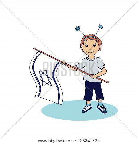 Boy holding the israeli flags. Vector illustration
