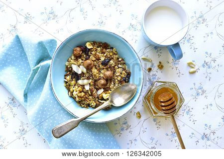 Homemade Granola In A Blue Bowl .top View.