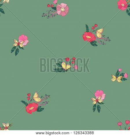 Floral Seamless Vintage Pattern With Wildflowers and Butterfly. Hand Drawn Vector Illustration. Good for Web, Print, Wrapping Paper